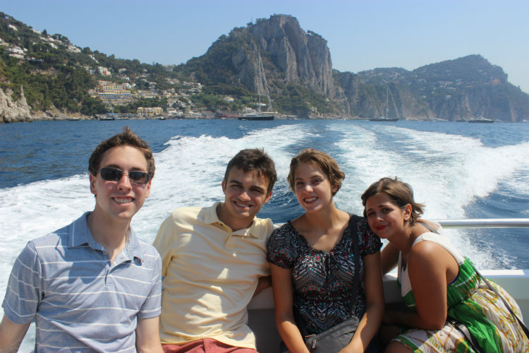 Latin in Romers on boat in Capri